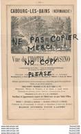 Publicité Année 1885 Vue De L' Hôtel Du Casino Avenue De La Mare à CABOURG LES BAINS - Publicités