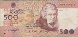 Portugal - Billet De 500 Escudos - Mouzinho Da Silveira - 4 Novembre 1993 - Portugal