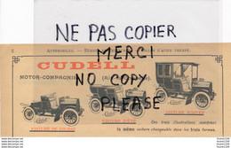 Automobile Voiture De Course CUDELL Motor Compagnie à AIX LA CHAPELLE Fabrique D' Allumettes Bougies Zundholz SARSTEDT - Advertising