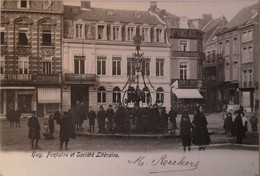 Huy // Fontaine Et Societe Litaraire (animee) 1903 Tres Rare - Liège