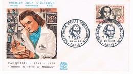 FRANCE F.D.C  N° 1373  N Vauquelin  GF  Bicentenaire 25 Mai 1963 Paris - 1960-1969