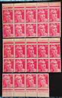 France 1947 - Marianne De Gandon N°712 - 2 Blocs De 10u Et Une Bande De 4. - 1945-54 Marianne Of Gandon