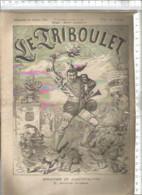 Vintage French Old NewsPaper 1880 // Journal Satirique Le TRIBOULET Gravure Cirque Marianne CLOWNS - 1850 - 1899