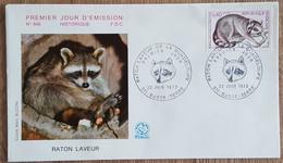 FDC 1973 - YT N°1754 - PROTECTION DE LA NATURE / RATON LAVEUR DE GUADELOUPE - BASSE TERRE - 1970-1979