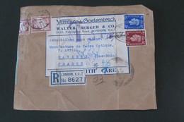 Grande Bretagne Colis Recommandé Taxé 27 08   1935 De Londres Pour Saverne - Briefe U. Dokumente