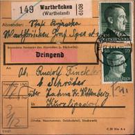 ! 1943 Wartbrücken, Wartheland Nach Zahna, Paketkarte, Deutsches Reich, 3. Reich - Covers & Documents