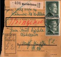 ! 1942 Warthbrücken, Wartheland Nach Mittweida, Paketkarte, Deutsches Reich, 3. Reich - Covers & Documents