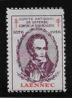 France Vignette Laennec 1926 - Neuf * Avec Charnière - TB - Antituberculeux
