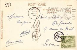 Lettre, Carte, Jersey Pour La Suisse Timbre Annulé, Timbre Suisse + Taxe, 1954      (bon Etat) - Postmark Collection