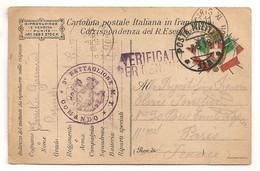 1918 CARTE DRAPEAUX POSTA MILITARE 112 / CENSURA / 9EME BATTAGLIONE ALBANIA  C1588 - Marcophilie