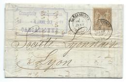 SAGE 30c SUR ENVELOPPE / CARCASSONNE POUR LYON 1883 - 1877-1920: Semi-Moderne