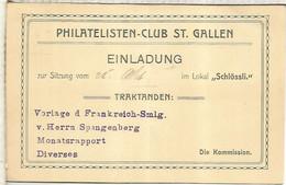 SUIZA ENTERO POSTAL PHILATELISTEN CLUB ST GALLEN 1910 - Brieven En Documenten