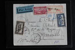 1938 MAROC LSC RABAT CAD 23/05/1938  RECOMMANDEE NO 101   PAR AVION POUR MARSEILLE - Storia Postale