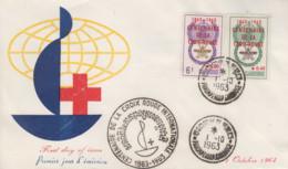 Enveloppe  FDC   1er  Jour    CAMBODGE    Centenaire  De  La  CROIX  ROUGE    1963 - Cambogia