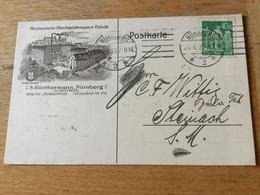 376 Deutsches Reich 1923 Firmenkarte Von Nürnberg Nach Steinach Meiningen Spielzeug - Storia Postale