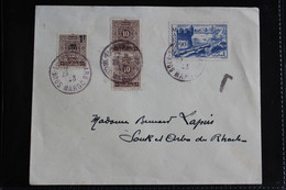1943 MAROC LSC CAD SOUK EL ARBA DU RHARB DU 29/04/1943  TAXEE Y&T NO TA29 10C BRUN TA47 1f Sur 10C BRUN SURCHARGE - Storia Postale