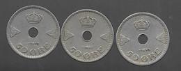Norvège. 3 X 50 öre : 1927 / 1928 / 1940 (200) - Norway