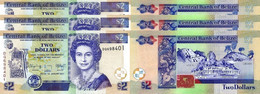 BELIZE 2 Dollars 2017  P 66 F  UNC X 3 Banknotes - Belize