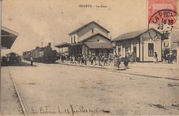 Thematiques Tunisie Bizerte La Gare Train Ecrite Timbre Cachet 23 07 1911 - Tunisia