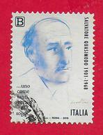 ITALIA REPUBBLICA USATO - 2018 - 50º Anniversario Della Morte Di Salvatore Quasimodo - Tar. B - S. 3826 - 2011-...: Used