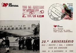 1980 Brasil 20º Aniversário Do 1º Voo TAP Rio De Janeiro - Lisboa - Luftpost