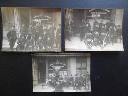 """3 Photos Originales Groupes Garde Civique Vers 1914 Devant Café à Bruxelles / """"Bock De Koekelberg"""" - Krieg, Militär"""