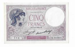 Billet France 5 Francs Violet CH.01.06.1933.CH  Série W.55560 - 5 F 1917-1940 ''Violet''