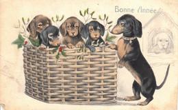 Thematiques Fantaisie Bonne Année Chiots Dan Paniere  Dessin Chien Dans La Niche Dessinée Main N° 2559 - New Year
