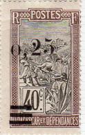 Madagascar 1921 Surchargé 0.25 Sur 40c YT 127  Neuf Charniere Surcharge Décalée - Ongebruikt