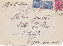 TUNISIE,1940, 3 TP Surcharge Sur Enveloppe - Unclassified
