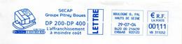 EMA Hauts De Seine Boulogne Billancourt SECAP Groupe Pitney Bowes L'affranchissement à Moindre Coût - Affrancature Meccaniche Rosse (EMA)