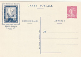 Entier Postal Type Semeuse 20 Cts Exposition Pexip 1937 - Cartes Postales Types Et TSC (avant 1995)