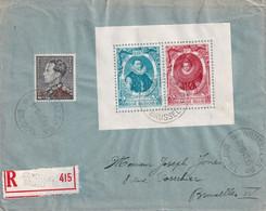 DDX987 - Enveloppe Recommandée Bloc 17 + TP Poortman BRUXELLES 19 En 1942  - COB 70  EUR  S/lettre - Covers & Documents