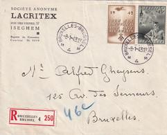 DDX988 - Enveloppe Recommandée TP 602 BRUXELLES 4 En 1943  - COB 55 EUR  S/lettre - Covers & Documents