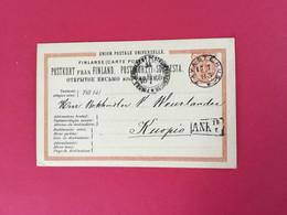 Finlande-Finland Entier Postal De Tavastehus Vers Kuopio En 1883 - Storia Postale