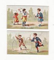 Chromo  SOCIETE COOPERATIVE  à Amiens    Lot De 2    Enfants, Cerceaux, Jeu Du Sabot     Petit Format   6.3 X 3.5 Cm - Otros