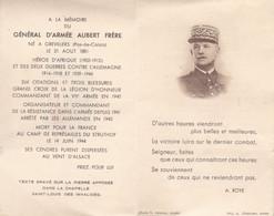 Pas De Calais Grévillers Carte Mortuaire Général Aubert Frére  14/6/1944 Mort Pour La France Camp Struthof Ref 1684 - Sonstige Gemeinden