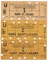 METRO PARISIEN // CARTE HEBDOMADAIRE // GARE SAINT LAZARE X 3 - Europa