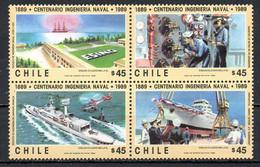 CHILI. N°919-22 De 1989. Génie Militaire/Hélicoptère/Sous-marin/Bateau. - Militaria