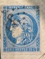 Gard -  SAUVE - Cachet à Date Type 16 Du 9 Janvier 1871 - GC 3328 Sur N°45 TII R3 - Enveloppe Vide - 1849-1876: Klassieke Periode