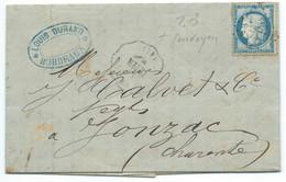 N° 60 BLEU CERES SUR LETTRE / CONVOYEUR BRIVE TB. PER POUR JONZAC / 1875 / LAC - 1849-1876: Période Classique