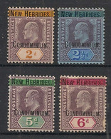 Nouvelles Hébrides - 1908 - N°Yv. 7 - 8 - 9 - 10 - 4 Valeurs - Neuf * / MH VF - Nuevos