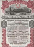 """COMPAGNIE DES CHEMINS DE FER AU BRESIL """"BRAZIL RAILWAY COMPAGNY """" TITRE DE UNE ACTION - ANNEE 1910 - Railway & Tramway"""