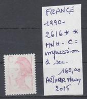 TIMBRE DE FRANÇE NEUF ** MNH VARIETEES 1990 Nr 2616 **MNH C= IMPRESSION EFFACEE A SEC  COTE 160  € - Neufs