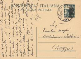 INTERO POSTALE L.15 1950 TIMBRO CASTIGLION DEL LAGO (XM666 - Postwaardestukken