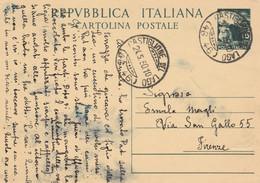 INTERO POSTALE L.15 1950 TIMBRO CASTIGLION DEL LAGO (XM667 - Postwaardestukken