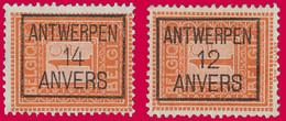 PRE ANTWERPEN 12 (Cat.: Typo 20b & 14 (Cat.: Typo 44b) ANVERS - Typos 1912-14 (Lion)