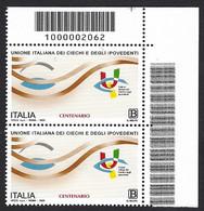 Italia 2020; Unione Italiana Dei Ciechi E Degli Ipovedenti, Coppia A Barre Superiori A Destra - Codici A Barre