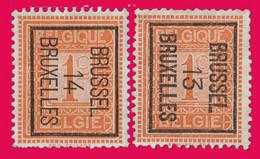 PRE  (Position B) BRUSSEL 13 (Cat.: Typo 37b) & 14 (Cat.: Typo 45b) BRUXELLES - Typos 1912-14 (Lion)
