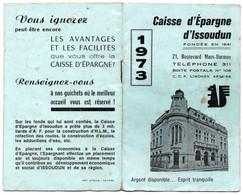 "Calendrier "" Petit Format "" - 1973 - CAISSE D' EPARGNE  ISSOUDUN  ( 36 ) - Small : 1961-70"